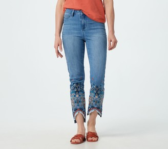 Laurie Felt Regular Daisy Denim Slim Leg Jeans with Embroidery