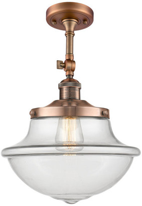 clear Innovations Lighting Large Oxford 1-Light Semi-Flush Mount, Antique Copper,