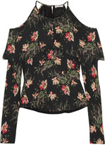 Vilshenko Cold-shoulder Floral-print Silk Crepe De Chine Blouse - Black