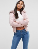 Lipsy Bomber Jacket in Pink with Faux Fur Hood