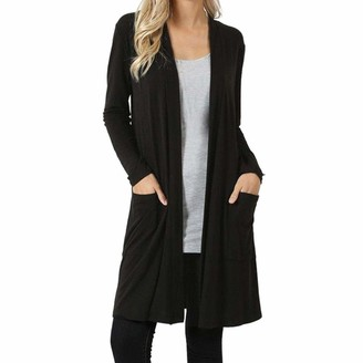Bovake Cardigan Bovake Womens Long Sleeve Cardigan Sweater Plus Size Ladies Casual Boyfriend Drape Open Front Length Maxi Cardigans Hem Open Top Pockets Loose Drape Long Cardigan (2XL=UK:24~26