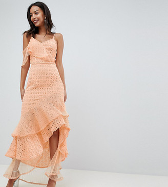 Asos Tall DESIGN Tall asymmetric rufflle broderie maxi dress-Yellow