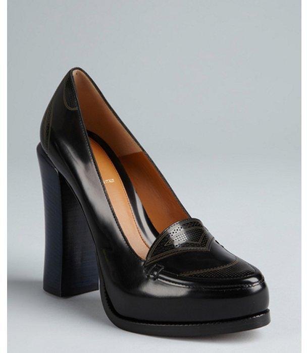 Fendi black and blue colorblock leather stacked heel loafers