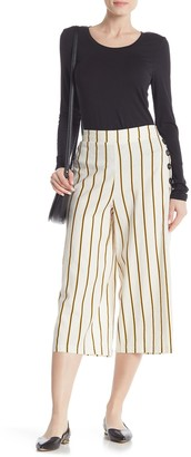 ECI Cropped Striped Linen Blend Pants