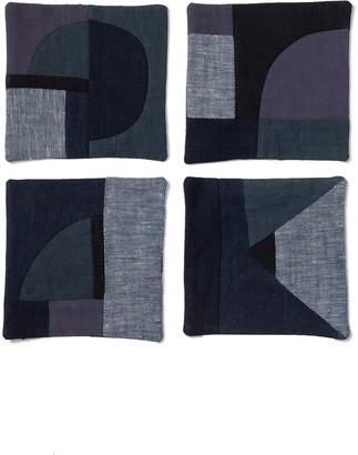 Thompson Street Studio Set of 4 Linen & Cotton Patchwork Coasters