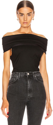 Rosetta Getty Banded Off the Shoulder Top in Black | FWRD