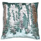 Thro Melody Mermaid Sequin Square Throw Pillow in Harbor Silver