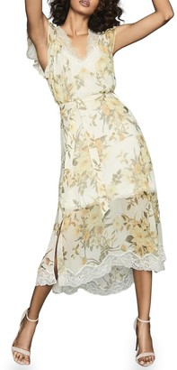 Reiss Emlin Floral Lace Trim Sleeveless Dress