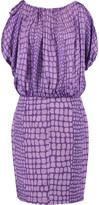 Moschino Printed silk-chiffon and cotton-blend midi dress