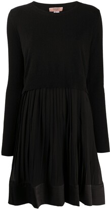 Twin-Set Layered-Look Pleated Mini Dress