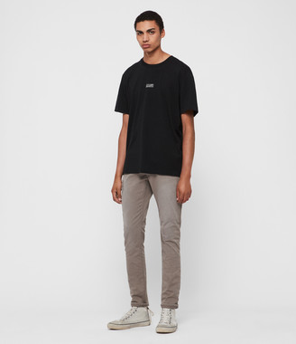 AllSaints Rex Twill Damaged Slim Jeans, Flint Grey