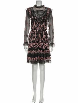 Needle & Thread Lace Pattern Knee-Length Dress Black