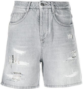Ermanno Scervino Crystal-Embellished High-Rise Denim Shorts