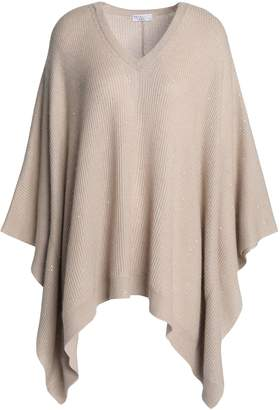 Brunello Cucinelli Sequin-embellished Ribbed-knit Poncho