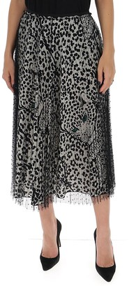 RED Valentino Leopard Print Tulle Midi Skirt