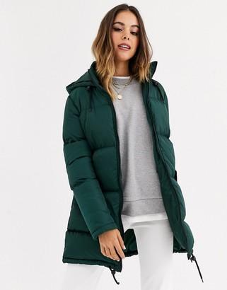 Brave Soul cello long puffer jacket-Green