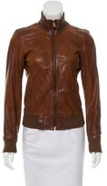 Dolce & Gabbana Leather Mock Neck Jacket