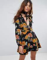 Glamorous Floral Print Skater Dress With Tie Neck