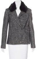 Elizabeth and James Fur-Trimmed Herringbone Jacket