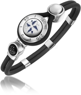 Forzieri Windrose Stainless Steel and Rubber Bracelet