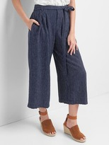 Gap Linen stripe tie-belt culottes