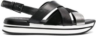 Hogan Leather Crossover-Strap Sandals
