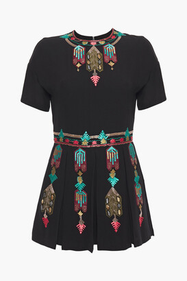 Valentino Embellished Embroidered Silk Crepe De Chine Playsuit