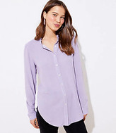 LOFT Striped Ruffle Neck Shirt