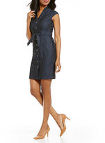 Calvin Klein Petite Denim Point Collar Belted Dress