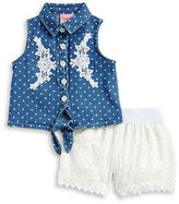 Nannette Baby Girls Baby Girls Two-Piece Polka Dot Top and Lace Shorts Set