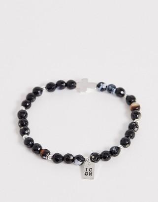 ICON BRAND beaded bracelet with cross charm in black