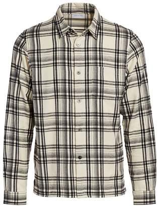 John Elliott Straight Hem Cotton Plaid Shirt