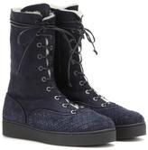 Bottega Veneta Shearling trim suede boots
