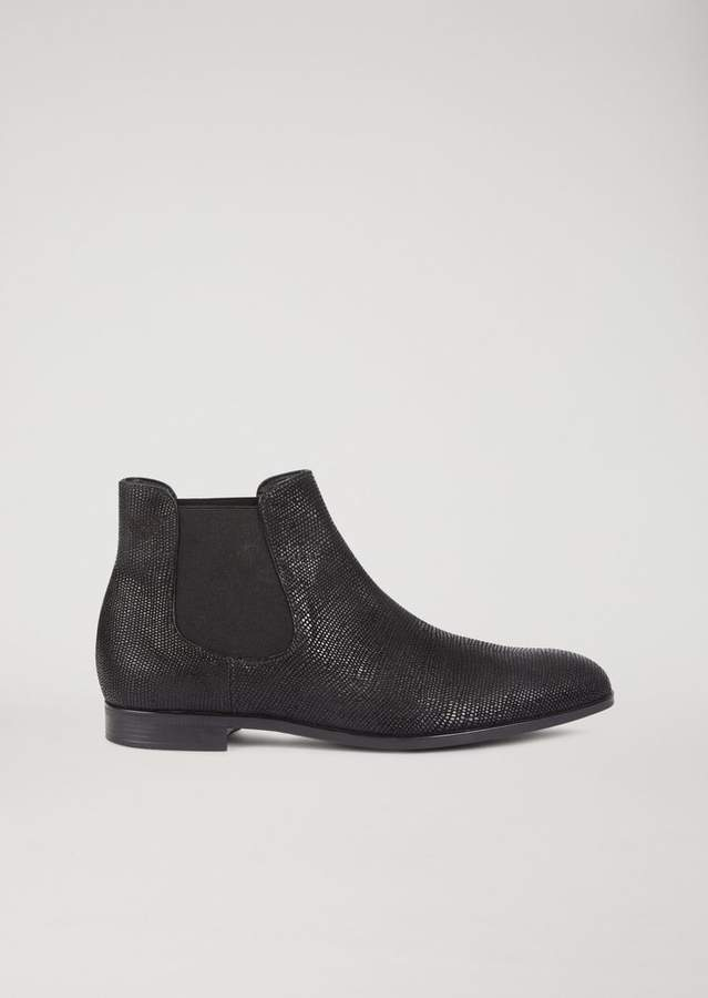 Emporio Armani Beatles Boots In Lizard-Effect Cowboy Leather