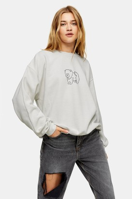 Topshop Womens Tall Stone Dog Line Sweatshirt - Stone