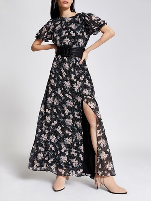 River Island Floral Chiffon Maxi Dress - Black