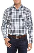 Thomas Dean Men's Corner Stitch Check Sport Shirt