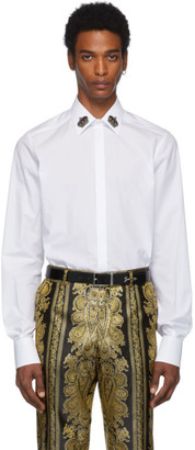 Dolce & Gabbana White Crown Collar Shirt