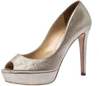 Jimmy Choo Metallic Gold Suede Dahlia Peep Toe Platform Pumps Size 38.5