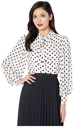 Unique Vintage Crepe Neck Tie Gwen Blouse (White/Black Dot) Women's Blouse