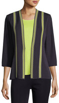 Misook Herringbone Contrast-Trim Jacket, Plus Size