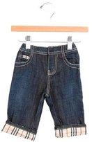 Burberry Boys' Nova Check-Trimmed Wide-Leg Jeans