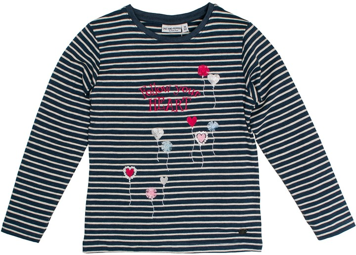 Salt&Pepper Salt and Pepper Girl's Longsleeve Wild Heart Stripe T-Shirt