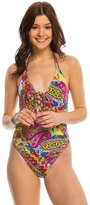 Hobie Peace Love and Paisley Lace Up One Piece Swimsuit 8140356
