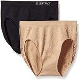 Ellen Tracy Women's Floral Jacquard Hicut Panty (2 Pack)