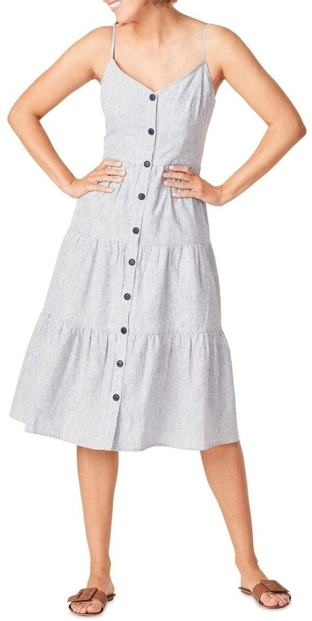 French Connection Linen Stripe Tiered Dress Navy
