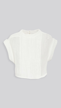 Le Kasha Zifta Linen Pleat Front Blouse
