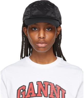 Ganni Black Satin Ruched Cap