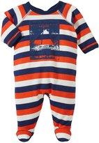 Petit Bateau Back Snap Footie (Baby) - Blue/Navy/White-Newborn