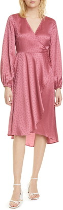 Sams?E Sams?E Veneta Long Sleeve Satin Jacquard Wrap Dress